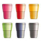 Set Of Disposable Plastic Cups. Eps10