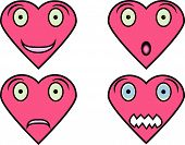 Heart Shaped faces with different expressions