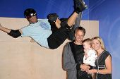 Tony Hawk with Lhotse Merriam and their daughter Kadence at the Unveiling of Madame Tussauds Wax Figure of Tony Hawk. Madame Tussauds Wax Museum, Hollywood, CA. 07-29-09