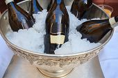 Wine Bottles In Cold Ice Bucket