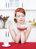 Sad Beautiful Woman Looking On Cake