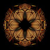 Colorful Dark Fractal Flower, Digital Artwork For Creative Graphic