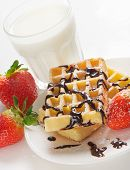 Waffles With Berries And Milk