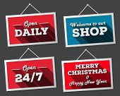 Set of hanging signs - Open, Welcome, Merry Christmas