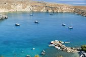 Greece, Rhodes Island, Lindos, view at the acropolis and the popular St.Pauls bay