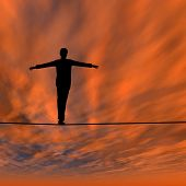 Conceptual concept of 3D businessman or man silhouette in crisis walking in balance on rope over sun