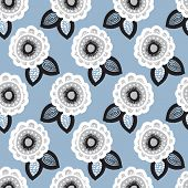 Seamless blue flower garden raw organic winter blossom background pattern in vector