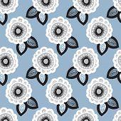 Seamless blue flower garden raw organic winter blossom background pattern in vector