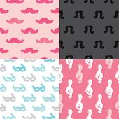 Seamless hipster illustration set with mustache glasses and music note raw brush texture background pattern in vector