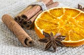 Anise Star And Cassia Cinnamon Sticks With Dried Orange Ring