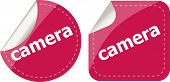 Camera Word Stickers Set, Web Icon Button