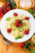 Tagliatelle with cherry tomatoes and zucchini