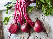 Fresh organic beetroot with leaves