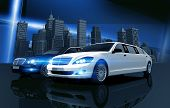 stock photo of limousine  - Two Prestigious Limos and City Skyline Concept Illustration - JPG