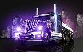 Violet Glowing Tanker Truck