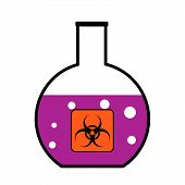 stock photo of chemical weapon  - Laboratory flask with biological weapons on white background - JPG