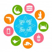 Colorful sticky set for the celebrations of Muslim community holy month Ramadan Kareem.
