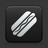 Hotdog Icon on Black and White Button