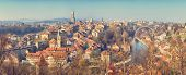 vintage panoramic view of the old town of Bern, Switzerland