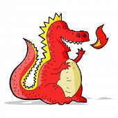 stock photo of fire-breathing  - cartoon fire breathing dragon - JPG