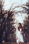 foto of walking dead  - beautidul brunette woman walking outdoors - JPG