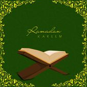 Open religious islamic book Quran Shareef on golden floral decorated green background for holy month of Muslim community Ramadan Kareem.