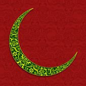 Floral decorated green crescent moon on seamless floral decorated maroon background for holy month o