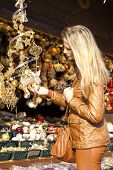 woman at Christmas market, Vienna, Austria