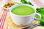 Soup Puree With Spinach On Fabric