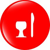 Eat Sign Icon. Cutlery Symbol. Knife And Fork. Circles Button