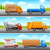 Realistic truck icons on road