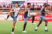 Sisaket Thailand-june 29: Mika Chunuonsee Of Bangkok Utd. (l) In Action During A Training Ahead Thai