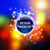 Vector web and mobile interface template with blurred multicolored lights, dark blue circle and shining stars