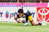 Sisaket Thailand-june 29: Anusit Termmee Of Bangkok Utd. In Action During A Training Ahead Thai Prem