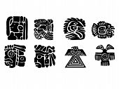 Maya Patterns. Black And White Drawings.