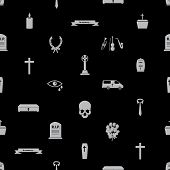 funeral icons black seamless pattern eps10