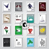postage stamps color set eps10