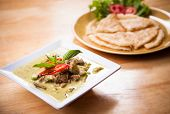Thai Green Curry Beef Served With Flatbread
