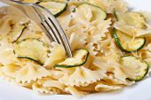 Pasta With Slices Of Zucchini, Cheese And A Fork  Macro