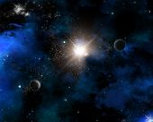 Space themed background with fictional planets, nebula and stars