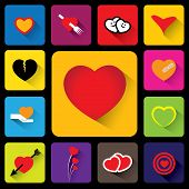 Colorful Heart Vector Icons Collection Set - Flat Design