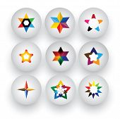 Colorful Star, Christmas & Navidad, Rating, 3D Badge Vector Icons.