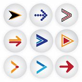 Arrow Sign & Symbol Button Vector Icons Set.