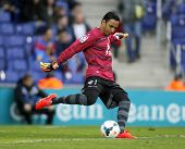 BARCELONA - MARCH, 22: Keylor Navas of UD Levante in action during a match against RCD Espanyol at the Estadi Cornella on March 22, 2014 in Barcelona, Spain