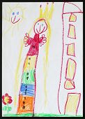Original child's drawing of a princess next to the multistorey house drawing by a five-year-old girl