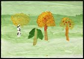 Original child's drawing of autumn trees drawing by a five-year-old girl.