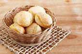 picture of wooden basket  - Brazilian snack cheese bread  - JPG