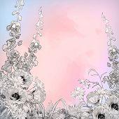 Vector Watercolor Pencil Ink Sketch Flowers