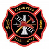 foto of firefighter  - Illustration of the firefighter or fire department Maltese cross symbol for volunteer firefighters - JPG