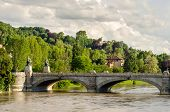 stock photo of turin  - Turin bridge on river Po and hills - JPG